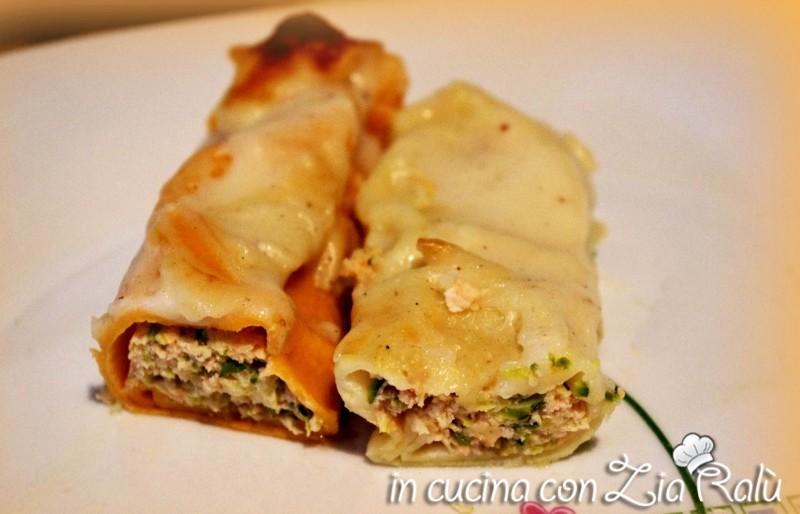 Cannelloni bicolori al salmone e asparagi