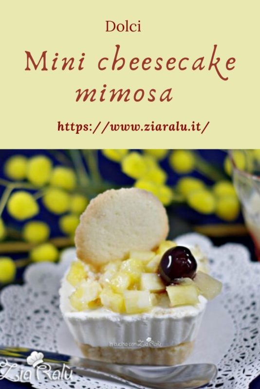 Mini cheesecake mimosa e lingue di gatto