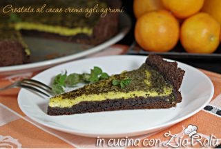 Crostata al cacao crema agli agrumi e menta