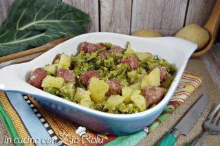 Patate salsiccia e broccolo romano al forno