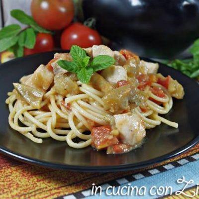 spaghetti pesce spada e melanzana