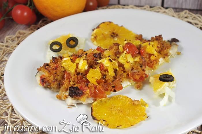 filetti di pesce gratinati all'arancia