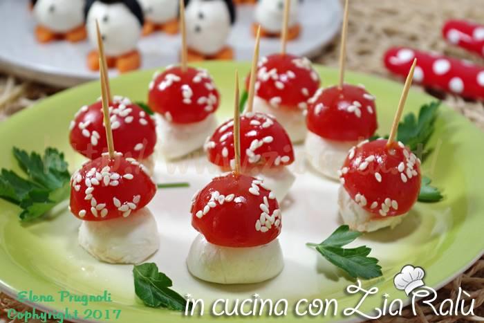 Funghetti pomodori e mozzarella -Antipasto