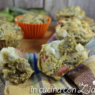 Muffins salati carciofi wurstel e scamorza