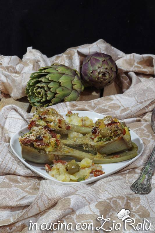 carciofi ripieni di patate gratinati