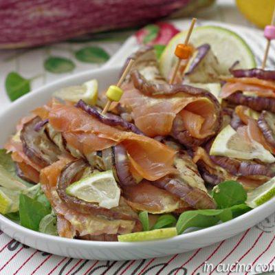 Involtini di melanzane al salmone - ricetta light