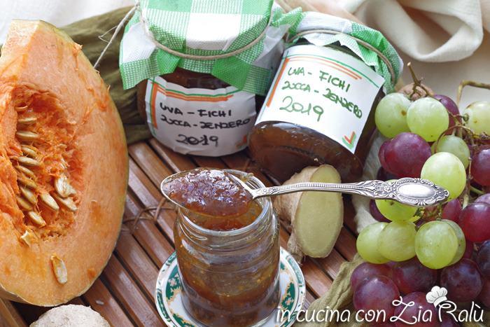Confettura di fichi zucca e uva allo zenzero