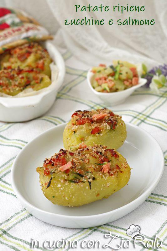 patate ripiene gratinate con salmone e zucchine