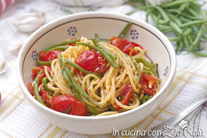 Spaghetti con fagiolini alla pugliese