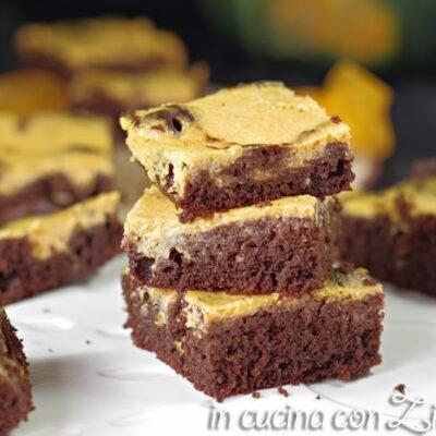brownies cheesecake alla zucca