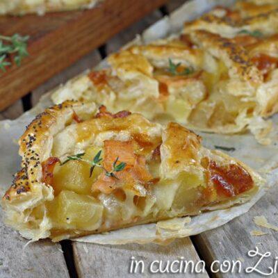 crostata salata patate e salmone